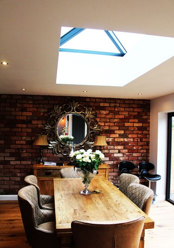inside view of window light in ceiling of Dinin extension Witherford Croft Solihull